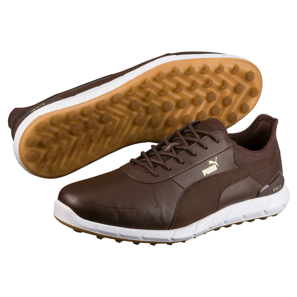 9f7595fbd1e168 Puma Golf Mens Waterproof Ignite Spikeless Lux Golf Shoes