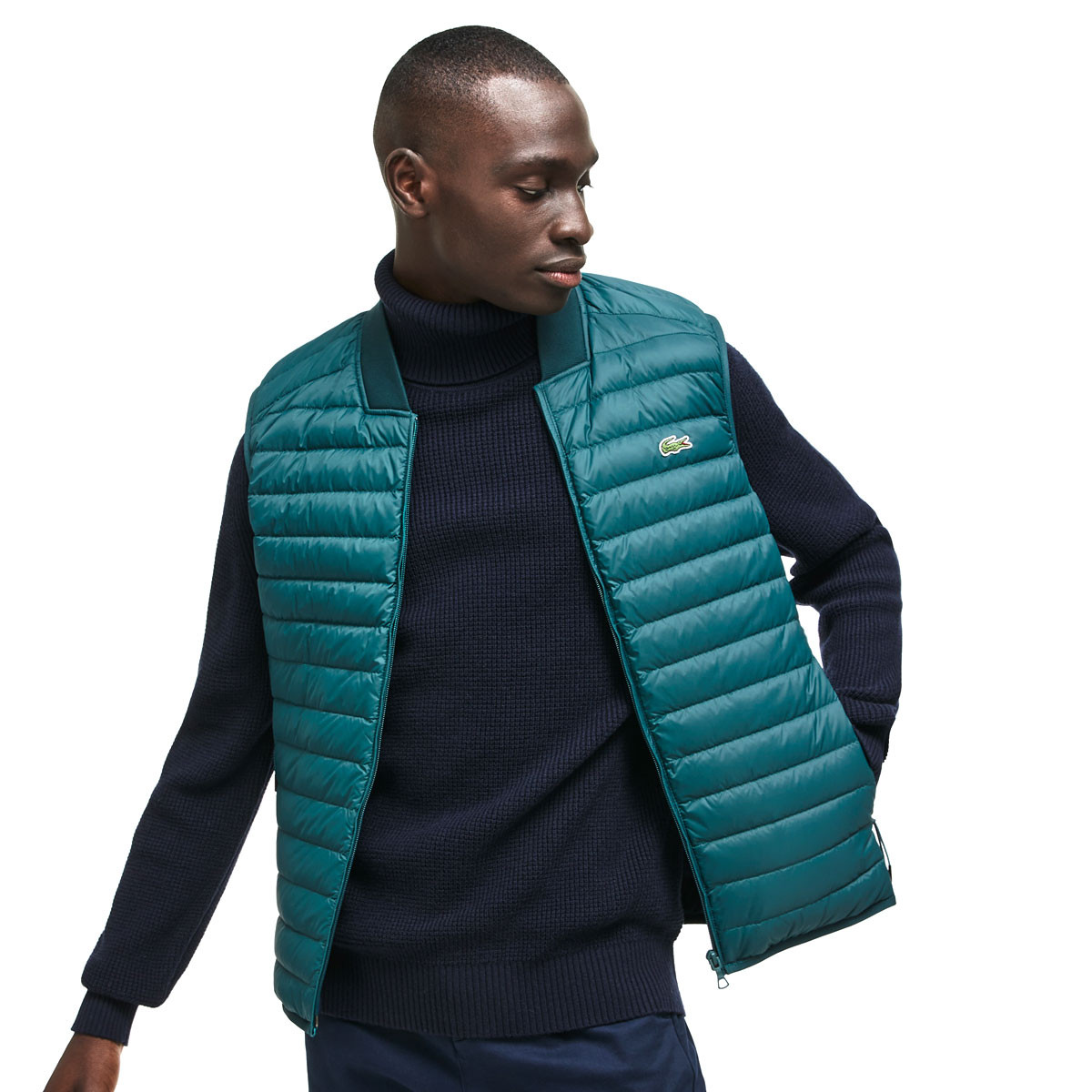 d412ac24f422 Lacoste Mens BH9415 Short Contrast Lined Quilted Water Resistant Vest