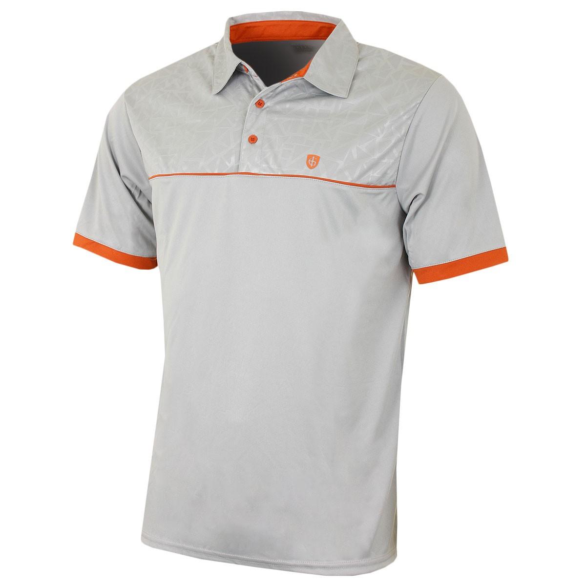 Island Green Mens Embossed Pattern Golf Polo Shirt