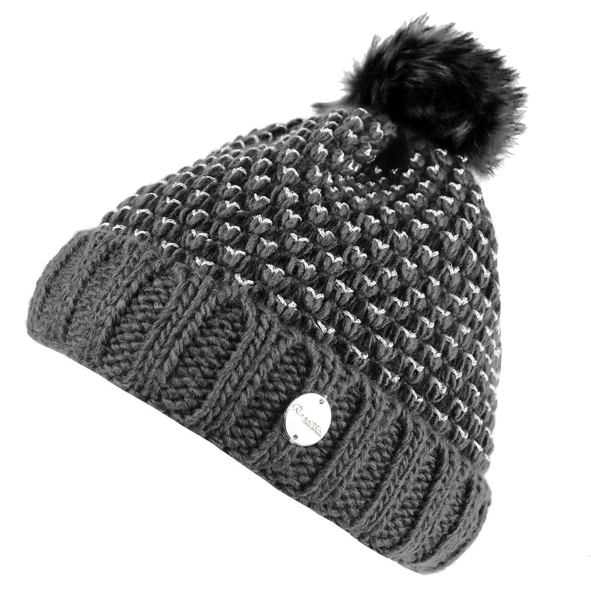 70e377e47f532e Regatta Womens Lovella Fleece Lined Logo Tab Detail Beanie Bobble Hat