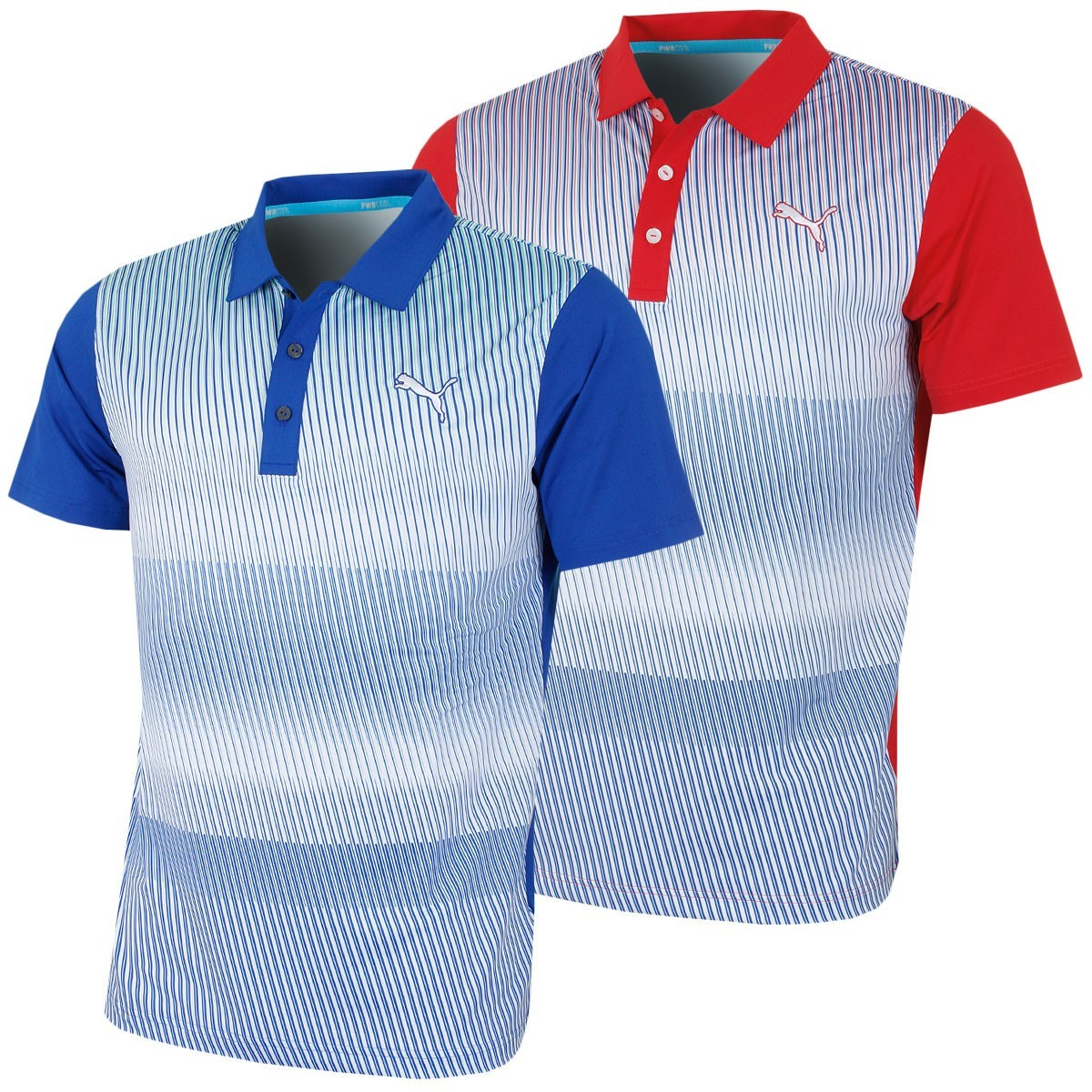 Puma golf mens gotime brushstripe pwrcool drycell polo shirt for Mens puma golf shirts