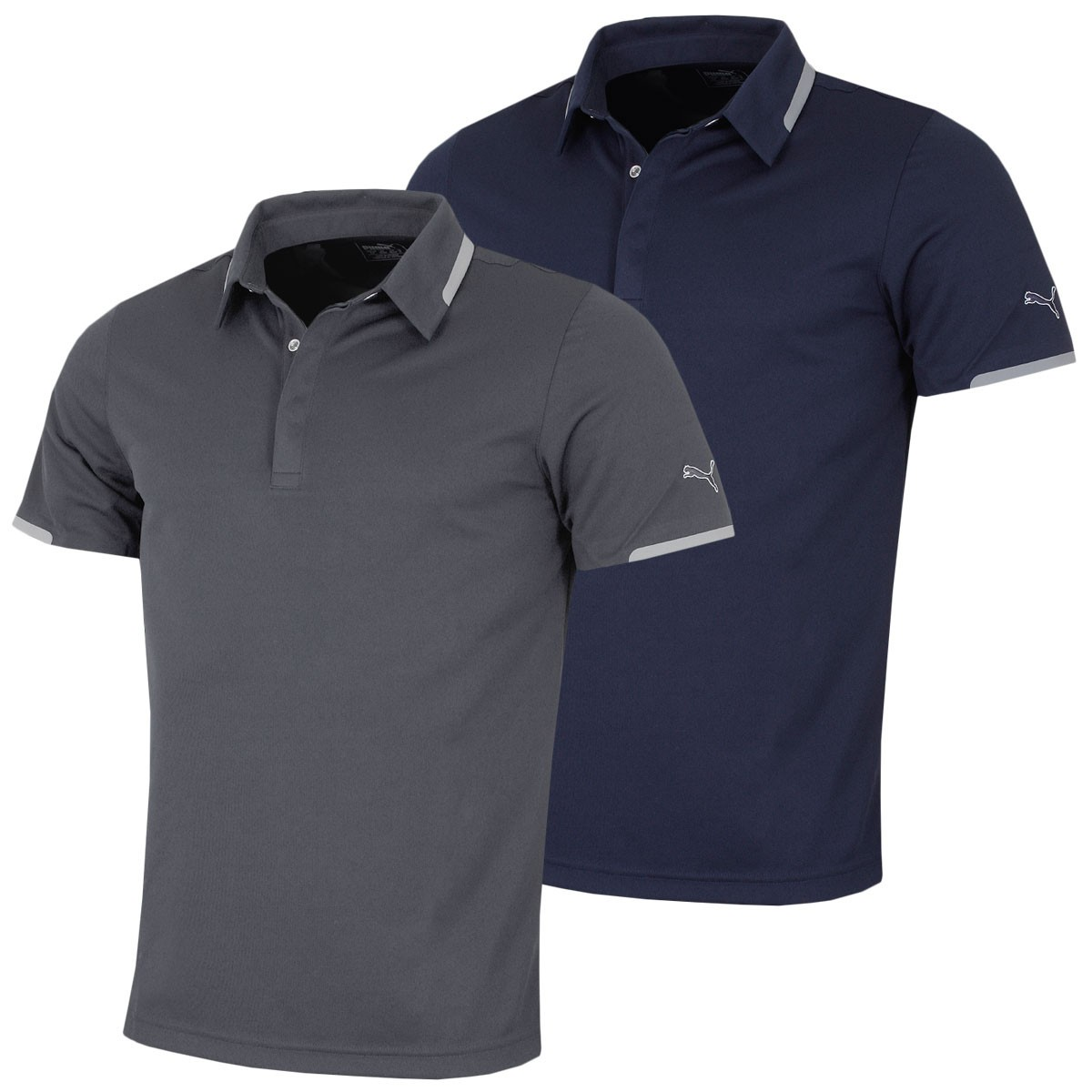 Puma golf mens tailored snap polo shirt for Mens puma golf shirts