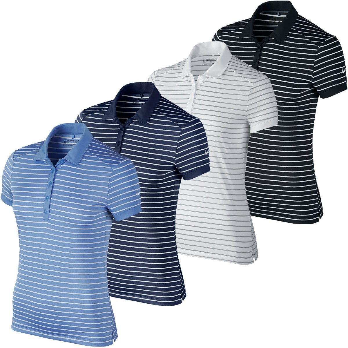 Nike golf 2016 womens victory stripe dri fit golf polo for Women s dri fit golf shirts