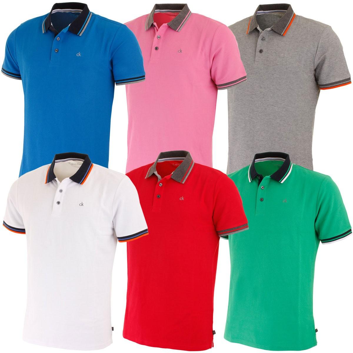 Calvin klein golf mens stripe collar pique golf polo shirt Polo shirts without collar