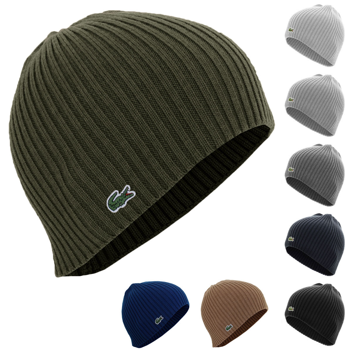 1377f663604 ... Lacoste Mens Ribbed Wool Beanie Hat.   Back. RB3504