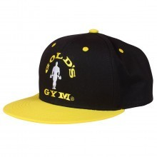 Golds Gym Mens Flat Peak Cap - Black/Yellow - One Size