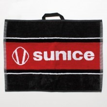 Sunice Branded Cotton Golf Towel with Woven Hook - Charcoal/Real Red