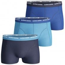 Bjorn Borg Mens Basic Seasonal Contrast 3 Pack Boxer Trunks Sport Underwear
