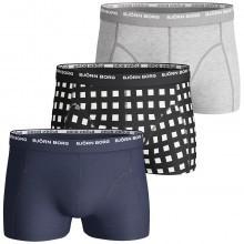 Bjorn Borg Mens BB Basic Check 3 Pack Boxer Trunks