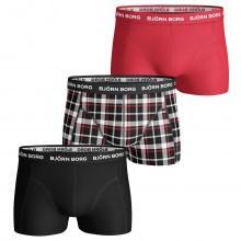 Bjorn Borg Mens BB Contrast Check 3-Pack Boxer Briefs