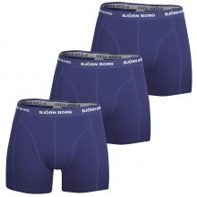 Bjorn Borg Mens Seasonal Solid Sammy 3 Pack Boxer Shorts