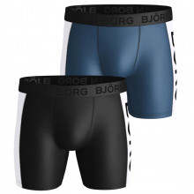 Bjorn Borg Mens 2021 Performance Shorts BB Panel Borg 2 Pack Wicking Boxers
