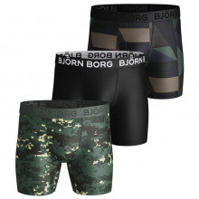 Bjorn Borg Mens 2021 Performance Shorts BB Digital Woodland 3 Pack Boxers