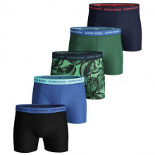 Bjorn Borg Mens 2021 Sammy Shorts BB Leafy 5 Pack Comfort Boxers