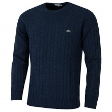 Lacoste Mens Crew Neck Wool Cable Knit Sweater