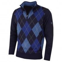 Cutter & Buck Mens Tonal Argyle WindBlock 1/4 Zip Golf Sweater Jumper