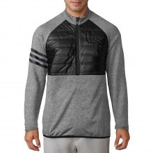 Adidas Golf Mens Climaheat Quilted Half-Zip Insulated 3-Stripes Jacket