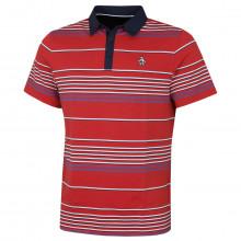 Original Penguin Mens 2021 Par Tee On Stripe Stretch 3 Button Golf Polo Shirt