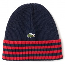 Lacoste Mens 2018 Striped Turned Edge Ribbed Cotton Beanie Hat