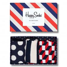 Happy Socks Mens 3-Pack Gift Box Comfort Cotton Striped Pattern Socks