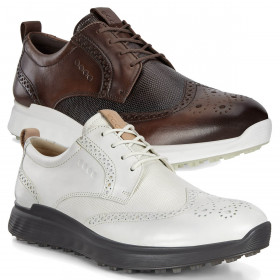 Ecco Mens Ecco M Golf Spikeless Premium Leather Classic Golf Shoes