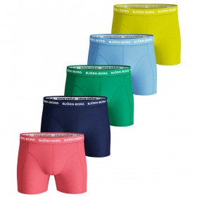 Bjorn Borg Mens 2020 Seasonal Solid Sammy 5 Pack Cotton Boxers