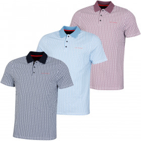 Ted Baker Mens Spinin Stretch Geometric Pattern 3-Button Golf Polo Shirt