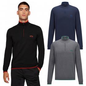 Hugo Boss Mens 2021 Zitom Ribbed Collar 1/2 Zip Pullover Cotton Sweater