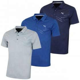 Puma Golf Mens Short Sleeve Prism Stripe Polo Shirt