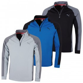 Puma Golf Mens PwrWarm Colour Block 1/4 Zip Pullover