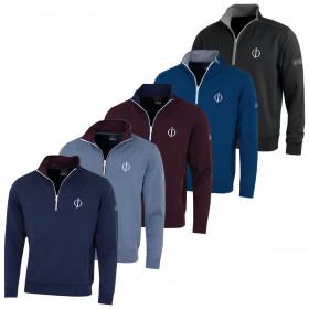 Oscar Jacobson Mens Bradley 'OJ Logo' Half Zip Golf Sweater