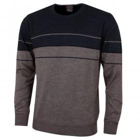 Oscar Jacobson Mens Reid Roundneck Wool Blend Lightweight Golf Sweater