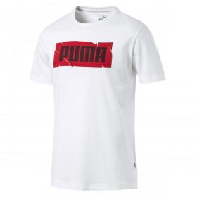 Puma Sport Mens Wording Tee Regular Fit Lightweight Ribbed Crew Co