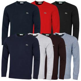 Lacoste Mens 2020 Organic Cotton Ribbed Cuffs Hem Crocodile Crew Neck Sweater
