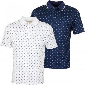 Bobby Jones Mens XH2O Crest Print Poly Pique Golf Polo Shirt
