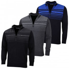 Calvin Klein Mens 2021 Rapid 1/2 Zip Durable Striped Soft Sweater