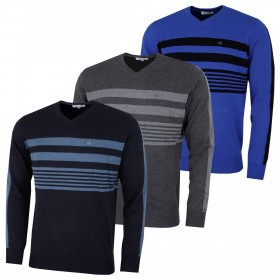 Calvin Klein Mens V-Neck Chest Stripe Sweater