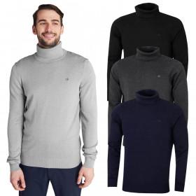 Calvin Klein Mens CK Roll Neck Rib Knit Warm Durable Sweater