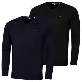 Calvin Klein Mens 2021 V-Neck Soft Cotton Easy Care Sweater