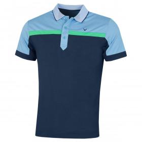 Callaway Golf Mens 2020 Birdseye Colour Block Moisture Wicking Golf Polo Shirt