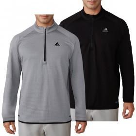 adidas Golf Mens Climaheat Gridded Quarter-Zip Pullover