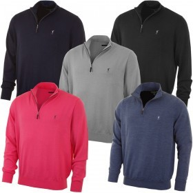 Fairway & Greene Mens Merino LS 1/4 Zip Wind Sweater