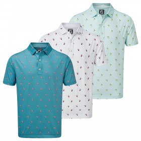 Footjoy Mens 2021 Lisle Cocktail Print Stretch Wicking Light Golf Polo Shirt