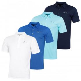 Greg Norman Mens Protek ML75 2Below Large Logo Golf Polo Shirt