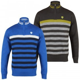 Island Green Mens 1/4 Zip Stripe Lined Golf Sweater