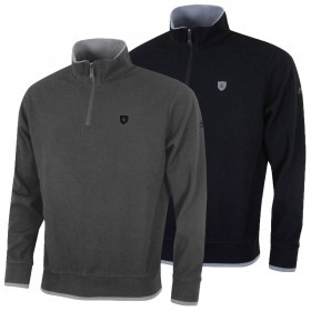 Island Green Mens Golf Half Zip Bonded Knit Windshirt