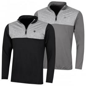 Island Green Mens Golf Contrast Yoke Zip Neck Mid Layer Sweater
