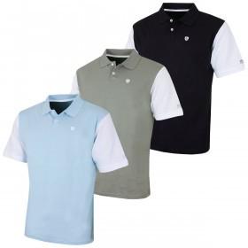 Island Green Mens Contrast Sleeve Cotton Golf Polo Shirt