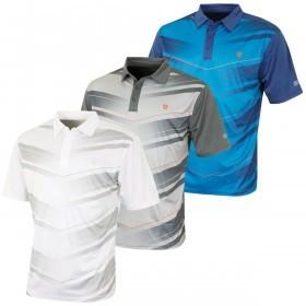 Island Green Mens Chevron Print Coolpass Golf Polo Shirt