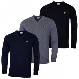 Lyle & Scott Mens 2019 Merino Wool V Neck Sweater